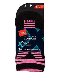 Hanes Women's Constant Comfort™ X-Temp® No-Show Socks 3-Pack