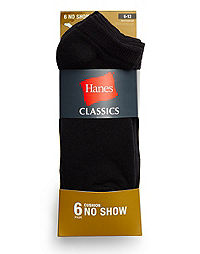 Hanes Classics Men's No Show Socks 6-Pack