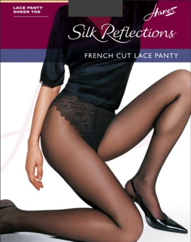 Hanes Silk Reflections French Cut Lace Panty Pantyhose 3-Pack