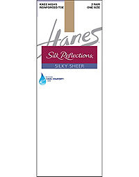 Hanes Silk Reflections Silky Sheer Knee Highs with Reinforced Toe 2-Pack