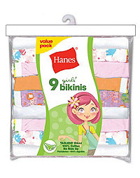 Hanes Girls' No Ride Up Cotton TAGLESS® Bikinis 9-Pack