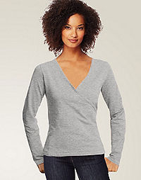 Hanes Signature® TAGLESS® Ultimate Stretch Cotton Long-Sleeve Wrap-Front Women's T-Shirt