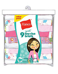 Hanes Girls' No Ride Up Cotton Low Rise Briefs 9-Pack