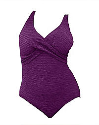 Krinkle® Chlorine-Resistant Crossover One-Piece Tank Swimsuit