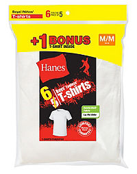 Hanes Boys' TAGLESS® Crewneck Undershirt 6-Pack (Includes 1 Free Bonus Undershirt)