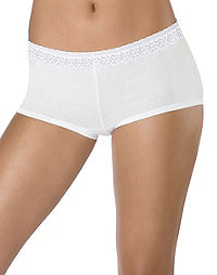 Hanes Women's Cotton Stretch Boy Brief with ComfortSoft® Lace Waistband 3-Pack