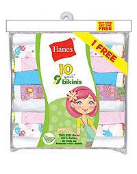 Hanes Girls' ComfortSoft® No Ride Up Bikini 10-Pack (Includes 1 Free Bonus Bikini Brief)