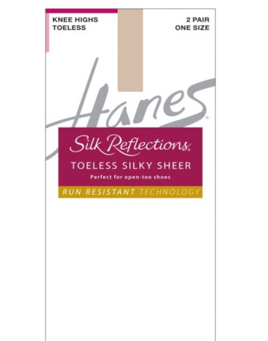 Hanes Silk Reflections Silky Sheer Toeless Knee Highs with Run Resistant Technology 5-Pack