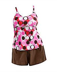 Sun Fun Ring-Strap Tankini with Swim Shorts Two-Piece