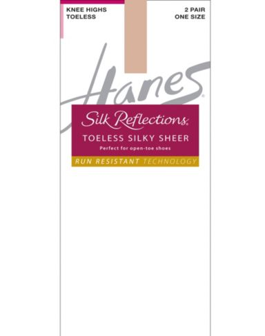 Hanes Silk Reflections Silky Sheer Toeless Knee Highs With No Slip Band