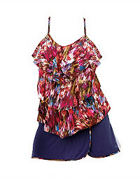 Two-Piece Triple-Tier Top with Skirt