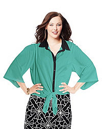 JMS 3/4-Sleeve Button-Down Top with Front Ties — Teal/Black