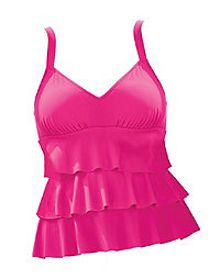 Triple-Tier Tankini Swim Top — Fuchsia
