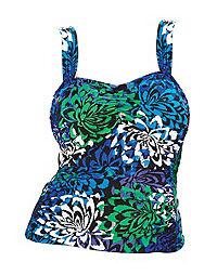 Wide-Strap Tankini Swim Top — Blue Print