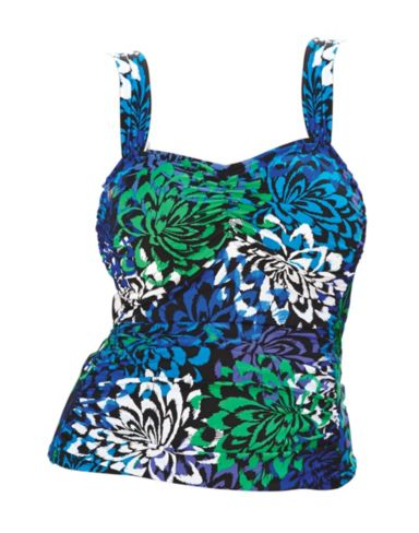 Wide-Strap Tankini Swim Top — Blue Print