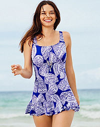 Two-Piece Ruffle-Edge Swimdress with Detached Brief — Butterfly Print