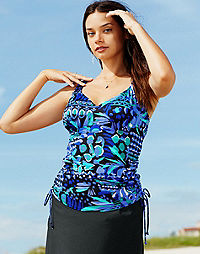 Tankini Swim Top with Adjustable Side Ties — Caribbean Play Print