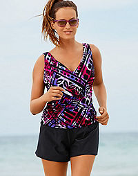 One-Piece Swimsuit: Purple/Pink Underwire Tankini Top & Attached Black Shorts