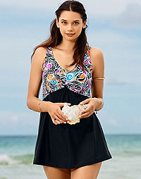 Twist-Front One-Piece Empire Swimdress — Black with Swirl Print