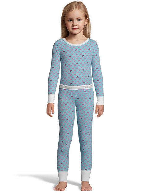Hanes X-Temp™ Girls' Organic Cotton Printed Thermal  Set