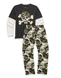 Hanes Boys' Sleepwear 2-Piece Set, Camo Skull Print