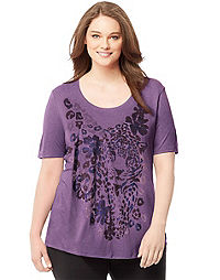 Just My Size by Hanes Short-Sleeve Scoop-Neck Women's Graphic Tee — Approaching Leopard Print