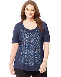 Just My Size Short-Sleeve Scoop-Neck Women's Graphic Tee — Tonal Pattern Mix