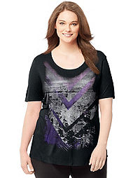 Just My Size Short-Sleeve Scoop-Neck Women's Graphic Tee — Nightlife Print