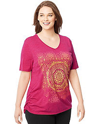 Just My Size Short-Sleeve V-Neck Women's Graphic Tee with Shirred Sides — Mandala Tapestry Print