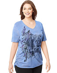 Just My Size by Hanes Short-Sleeve V-Neck Women's Graphic Tee with Shirred Sides — Tiger Flourish Print