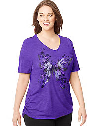 Just My Size Short-Sleeve V-Neck Women's Graphic Tee with Shirred Sides — Garden Wings Print