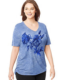 Just My Size Short-Sleeve V-Neck Women's Graphic Tee with Shirred Sides — Lily & Rose Print