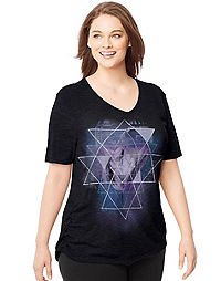 Just My Size by Hanes Short-Sleeve V-Neck Women's Graphic Tee with Shirred Sides — Hazy Framework Image Print