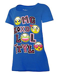 Hanes Girls' Emoticon Message Peplum Tee