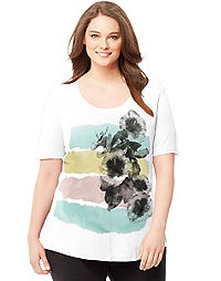 Just My Size Short-Sleeve Scoop-Neck Women's Graphic Tee — Hibiscus Soft Stroke Print
