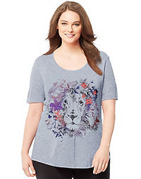 Just My Size Short-Sleeve Scoop-Neck Women's Graphic Tee — Floral Mane Print