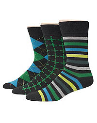 Hanes Premium Men's Assorted Black with Greens Dress Socks 3-Pack