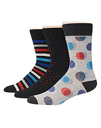 Hanes Premium Men's Assorted Black with Blues Dress Socks 3-Pack