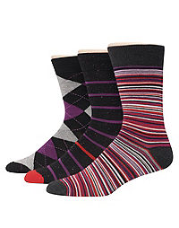 Hanes Premium Men's Assorted Black with Reds Dress Socks 3-Pack