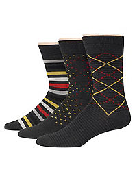 Hanes Premium Men's Assorted Black with Golds Dress Socks 3-Pack