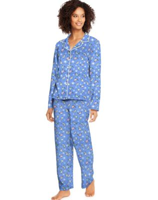 Hanes Women's Knit Notched Collar Top and Pants Sleep Set