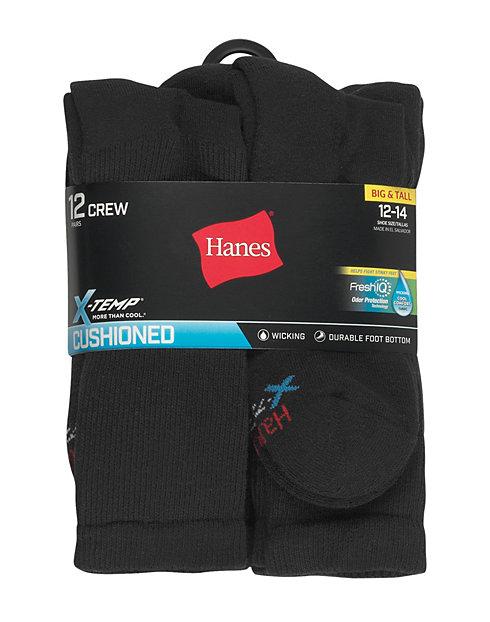 Hanes Men's FreshIQ? X-Temp? Active Cool? Big and Tall Crew Socks 12-Pack