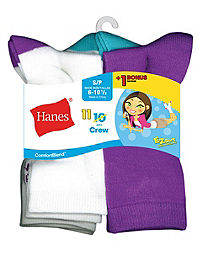 Hanes ComfortBlend® EZ-Sort® Girls' Crew Socks 11-Pack (Includes 1 Free Bonus Pair)