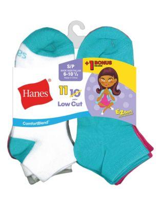 Hanes ComfortBlend® EZ-Sort® Girls' Low-Cut Socks 11-Pack (Includes 1 Free Bonus Pair)