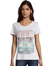 Hanes Women's Dream of Places Far Away Short-Sleeve V-Neck Graphic Tee