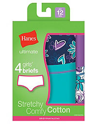 Hanes Ultimate™ TAGLESS® Cotton Stretch  Girls' Briefs 4-Pack