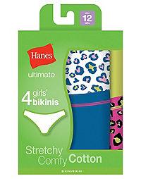Hanes Ultimate™ TAGLESS® Cotton Stretch Girls' Bikinis 4-Pack