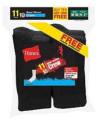 Hanes EZ-Sort® Boys' Crew Socks 11-Pack (Includes 1 Free Bonus Pair)