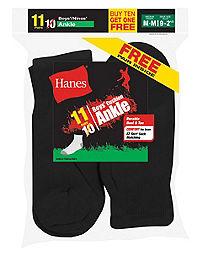 Hanes EZ-Sort® Boys' Ankle Socks 11-Pack (Includes 1 Free Bonus Pair)