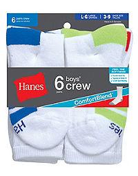 Hanes ComfortBlend® Boys' Crew Socks 6-Pack